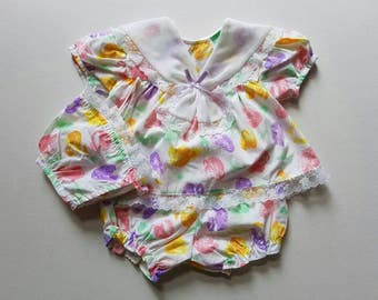 3 piece vintage baby ensemble. Baby bloomers. Baby bonnet