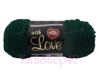 EVERGREEN. 7oz Red Heart with Love Yarn, Dark Green Acrylic yarn. Solid Green Soft Acrylic Yarn. 100% acrylic 198g 370yds, 7oz