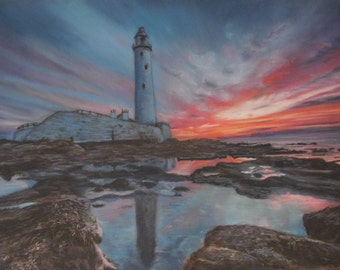 Sunset over St. Mary's Lighthouse, Whitley Bay - Limited Edition Mounted A3 artist print by Heather Hindle