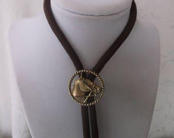 Vintage Bolo Tie, Country Western Horse Bolo Tie, Texas Tie, Southwestern Tie, Brown cord, Nice Quality