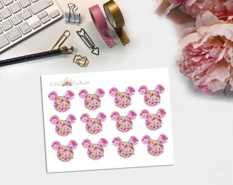 Summer Floral Mickey Inspired planner stickers