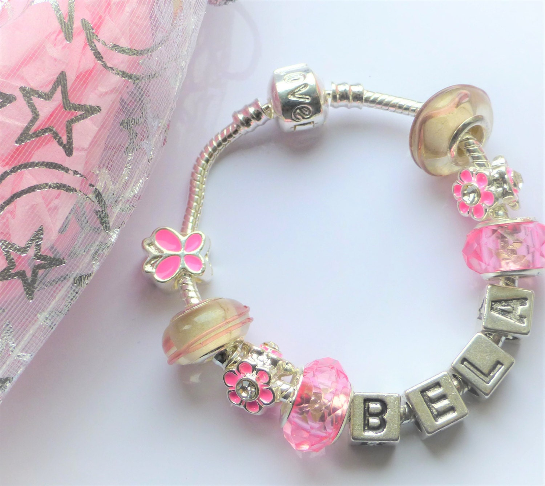Any Name Pink Charm Bracelet Childrens Flower Girls Bridesmaid Birthday  Gifts Alphabet Letter Charms Pink Butterfly Flower Charms Girls