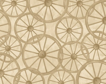 Wagon Wheel Rustic Quilt Fabric, Pioneer Spirit Fabric, Maywood Studio MAS8176-T Tom Browning, Early American, Wheels Western Fabric, Cotton