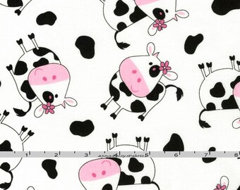 Black & White Cows Fabric, Timeless Treasures Kidz C9684 White, Tossed Cows Quit Fabric, Farm Animal Fabric, Baby Fabric, Holsteins, Cotton