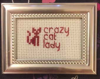 Crazy cat lady cross stitch