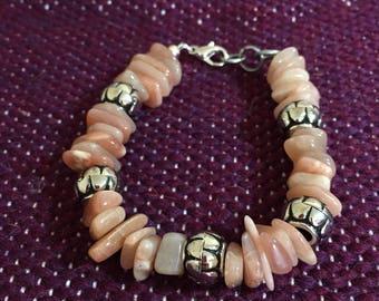 Strawberry quartz chunky bracelet. 7 inch