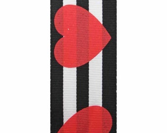 "1-1/2"" Black & White Stripe Ribbon with Red Hearts - Valentines Day"