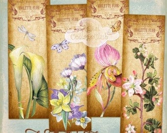 Vintage Botanical Flowers Bookmarks Images for Bookmark, Cardmaking, Journaling, Decoupage, Tags, Labels, Paper Craft, ATC