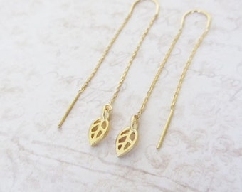 Gold leaf threader earrings, gold long chain earrings, Threader earrings, Long chain earrings