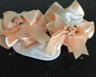 Pearl rosebud cluster  detail Classy Bespoke satin romany frilly laced  socks wow. to centre bow. Princess fairytale tutu style Jazziejems B