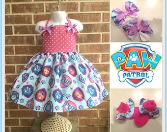Boutique custom handmade Paw Patrol inspired twirl dress, Paw Patrol Dress, Paw Patrol outfit, Paw Patrol Birthday