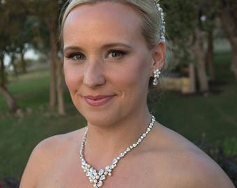 SALE Ends Sunday Freshwater pearl CZ jewelry set, CZ Pearl Wedding Necklace Set, bridal jewelry, wedding jewelry, cz jewelry set, pearl jewe