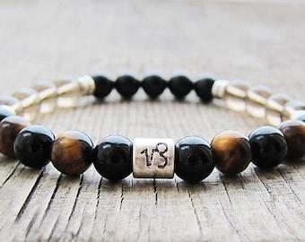 Capricorn zodiac sign bracelet Capricorn birthstone bracelets Capricorn constellation black onyx bracelet Horoscope bracelet Zodiac jewelry