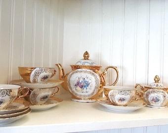 Vintage Bavaria Fine China Tea Set Heavy Gold Romantic Couple Lovers