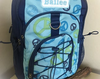LARGE Blue Peace Gear UP Backpack Monogrammed