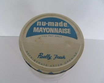 Glass Jar - Nu - Made Mayonnaise  - Vintage Jar