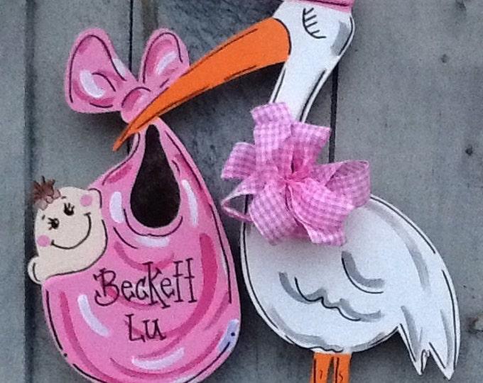 Baby announcement sign, stork sign, stork announcement sign, newborn announcement sign, newborn door sign, baby door sign, stork door sign