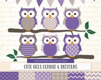 Patterned Purple Owls Clipart and Digital Papers - purple Owl Clipart, Owl Vectors, Baby Owls, Cute Owls