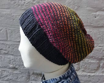 Large Slouchy Hat, Oversize Multicolour Knitted Stripes Beanie, Black, Red, Orange, Yellow - ready to ship - FREE DELIVERY