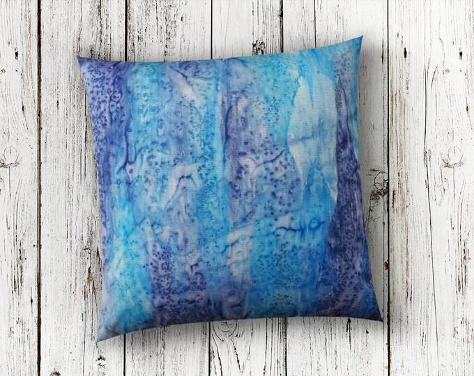 Blue Pillow 18x18-Watercolor Silk Pillow-Beach Decor-Coastal Decor-Navy Pillow-Christmas Gift