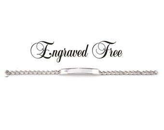 Personalized Ladies ID Bracelet Silver With Diamond Etch Accent Custom Hand Engraved Monogrammed