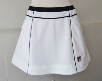 White Fila Vintage Tennis Skirt // Size 42 - 10 // Made In Italy