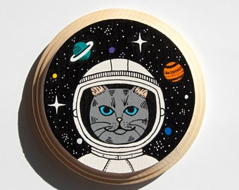 Space Cat mini painting on wood
