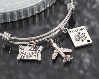 Flight attendant bracelet, charm bangle, travel gift, airplane jewelry, flight attendant gift, travel jewelry, passport charm bracelet gift
