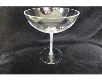 "SALE! Elegant Crystal Compote with Braided Base Marked "" Ceskci"""