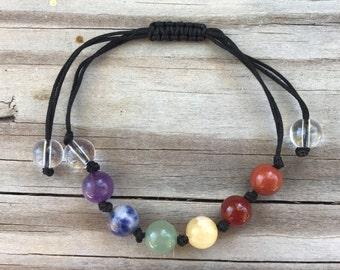 Chakra Hemp Natural Gemstone Bracelet * Adjustable * chakra aligning and activation!
