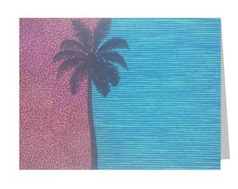 Palm Tree Card, Tropical Birthday, Blank 5x7 Greeting, Blue Pink Black, Card For Him, Beach Party, Geometric, Thank You, Modern Art