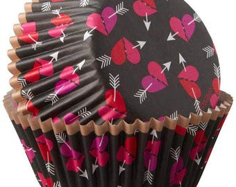 Hearts & Arrows Wilton Standard Cupcake Liners Baking Cups Muffin Cups - Heart Cupcake Liners - Valentine Cupcake Liners
