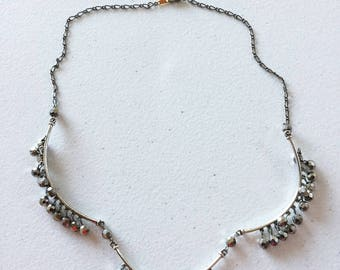 """21"""" silver beaded necklace"""