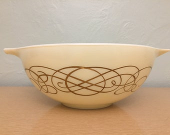 Pyrex Golden Scroll Gold on Ivory Cinderella Bowl #444, Deluxe Chip & Dip