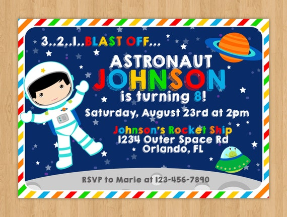 Outer Space Birthday Invitation By Little Rainbow Blooms