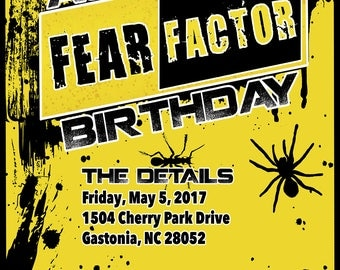 Fear Factor Birthday Party Invitation - Digital Download