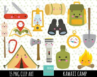 80 SALE CAMP Clipart Kawaii Clipartcommercial Use Camping Digital