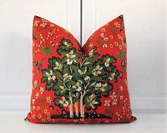 Red Orange Pillow Cover- Medieval Harvest