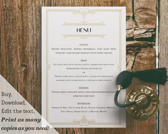 Printable Wedding Reception Menu Template 1920s Gatsby Black and Gold
