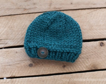 Button Newborn Hat, Classic Hat, Newborn Button Hat, Newborn Knit Hat, Alpaca Hat, Photo Prop, Newborn Hat, Newborn, Knit Hat