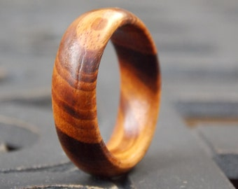 Custom made Tigerwood Men's or Woman's wood ring any size