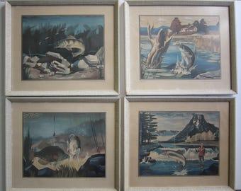 Vintage 4 Framed Al Kraayvanger Storz Brewing Prints ~ Fishing Theme