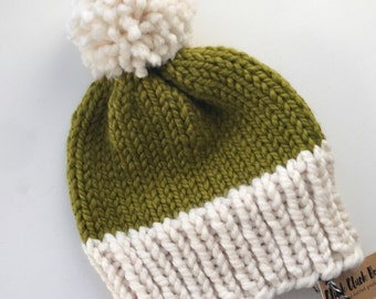 Knitted Adult Hat - Colorblock Lemongrass Green