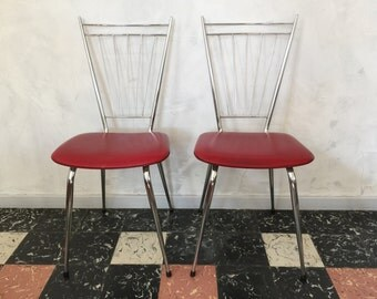 Pair of vintage 1960 feet compass red leatherette and chrome chair