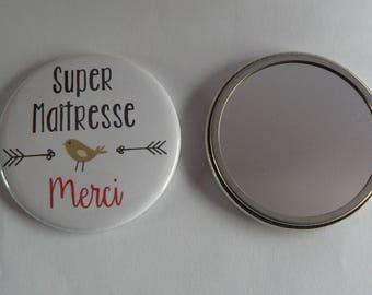 Miroir de poche 56mm Super Maîtresse Merci.