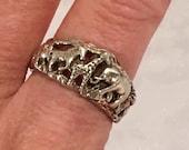 Sterling Silver 925 Wild Animal Elephant Giraffe Zebra Band Ring Size 8.75 Jewelry