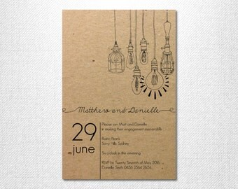 DIY Printable ~ Light Bulb Invites ~ Lights Invitation ~ Hanging Lights ~ Light Bulbs Invite ~ Engagement Party ~ Print Your Own