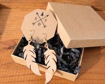 Rustic Wood Boho Feather 22kt Gold Plated Earrings - Hypoallergenic Fish Hook Dangle Gypsy Minimalist Earrings