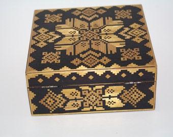 Decorative Square Ukrainian Wood Box Trinket Box Jewelry Box Stars Straw Inlay Straw Marquetry Folk Art Hinged Lacquered Box hand carved box