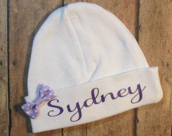Newborn Hospital Hat, Newborn Beanie, Newborn Hat, Newborn 2 Ply Hat, Newborn Hospital Hat, Personalized Hospital Hat, Newborn Keepsake Hat